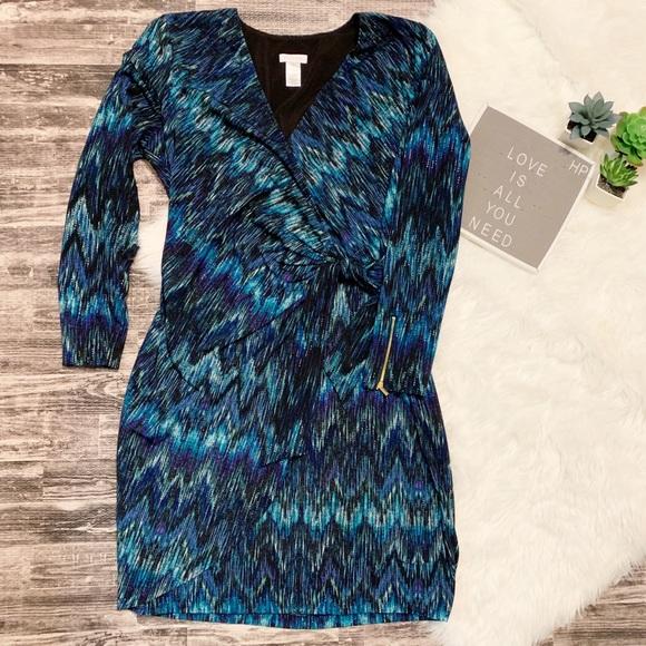 Cache Dresses & Skirts - Cache Chevron Peacock Colors Faux Wrap Dress